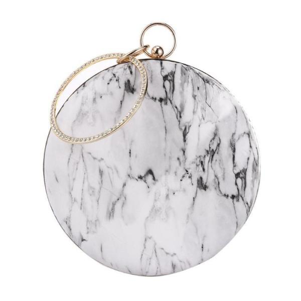 New Fashion Women Shoulder Bag Lady Chain Around Crossbody Bag Hoop Portable Marble Clutch Handbag