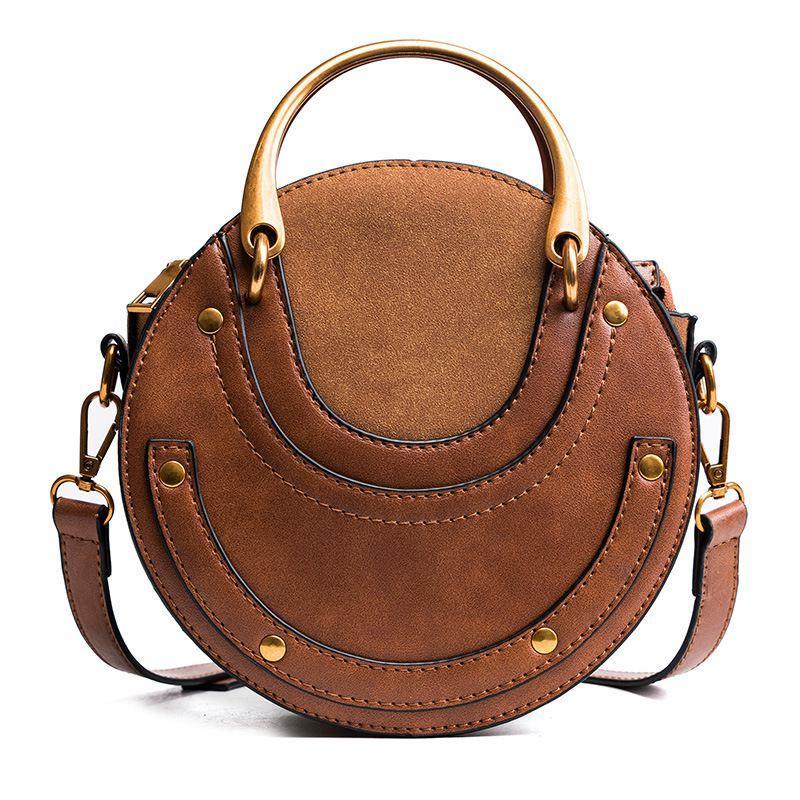 Circular Scrub PU Leather Women Bags Retro Handbag Small Round Women Shoulder Mini Bag(Brown)