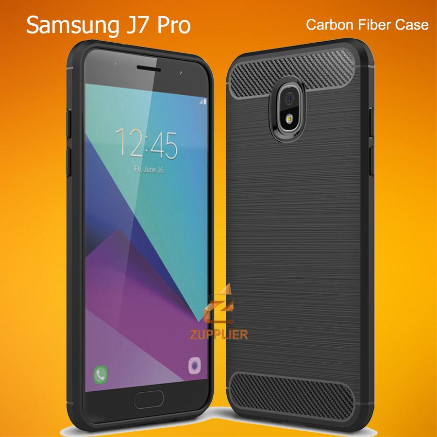 Samsung Galaxy J7 Pro Case Premium Carbon Fiber Brushed Rugged Soft TPU Case