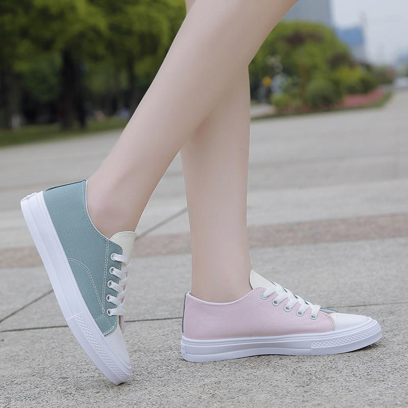 Netral model baru Sepatu kanvas perempuan sepatu putih kecil Gaya Korea sepatu kain ulzzang sepatu sneaker sepatu trendi murid musim panas 2019 Musim Semi