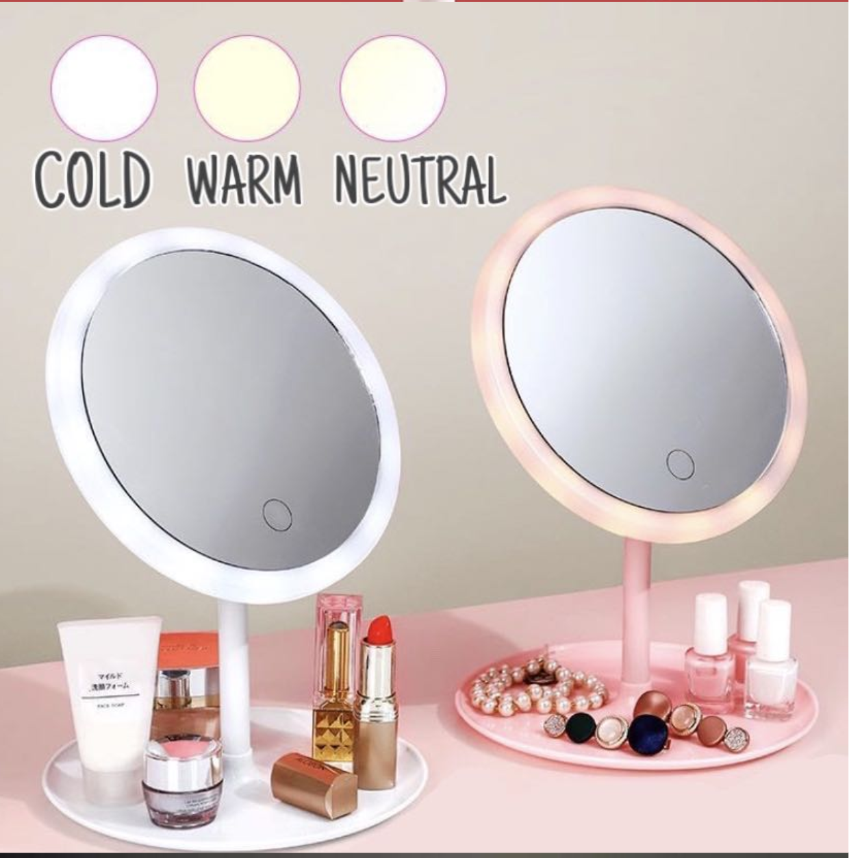 Led Makeup Mirror With Light Fill Tabletop Vanity Mirror Desktop Folding Portable Mirror Ringlight Smart Led Touch Screen Makeup Mirror Tabletop Portable Vanity Dimmable With 3 Lighting Levels Micro Usb Rechargeable