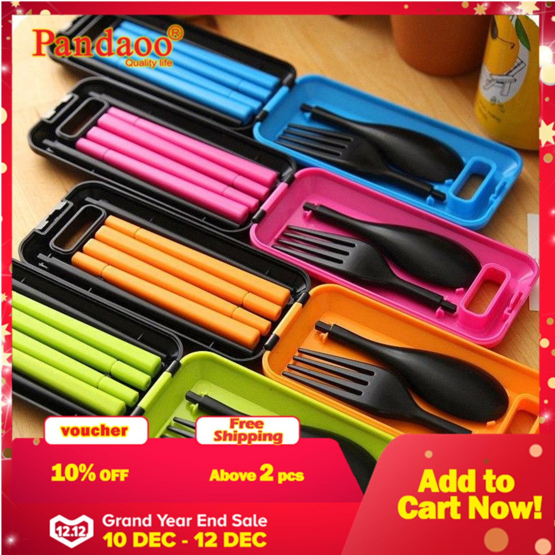 New Cutlery Korean Outdoor Portable Picnic Hiking Serve Ware Kitchenware Chopstick Spoon Fork (Green)
