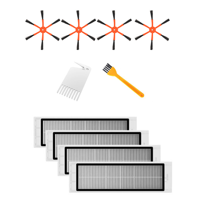 4 Side Brush + 4 HEPA Filter Suitable for Xiaomi Vacuum 2 Roborock S50 for Xiaomi Roborock Mi Robot Parts Filters