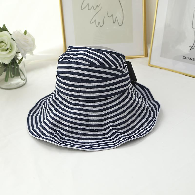 6f860caf4164f Cloth Cap Female Spring And Summer Sun Hat Big Brim Foldable Stripes Bow Sun  Hat Korean