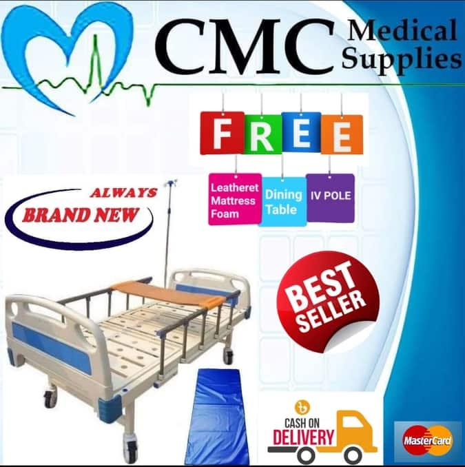 Two Cranks Hospital Bed with FREE Dining Table, IV Pole, 4 inches  Leatherette Mattress