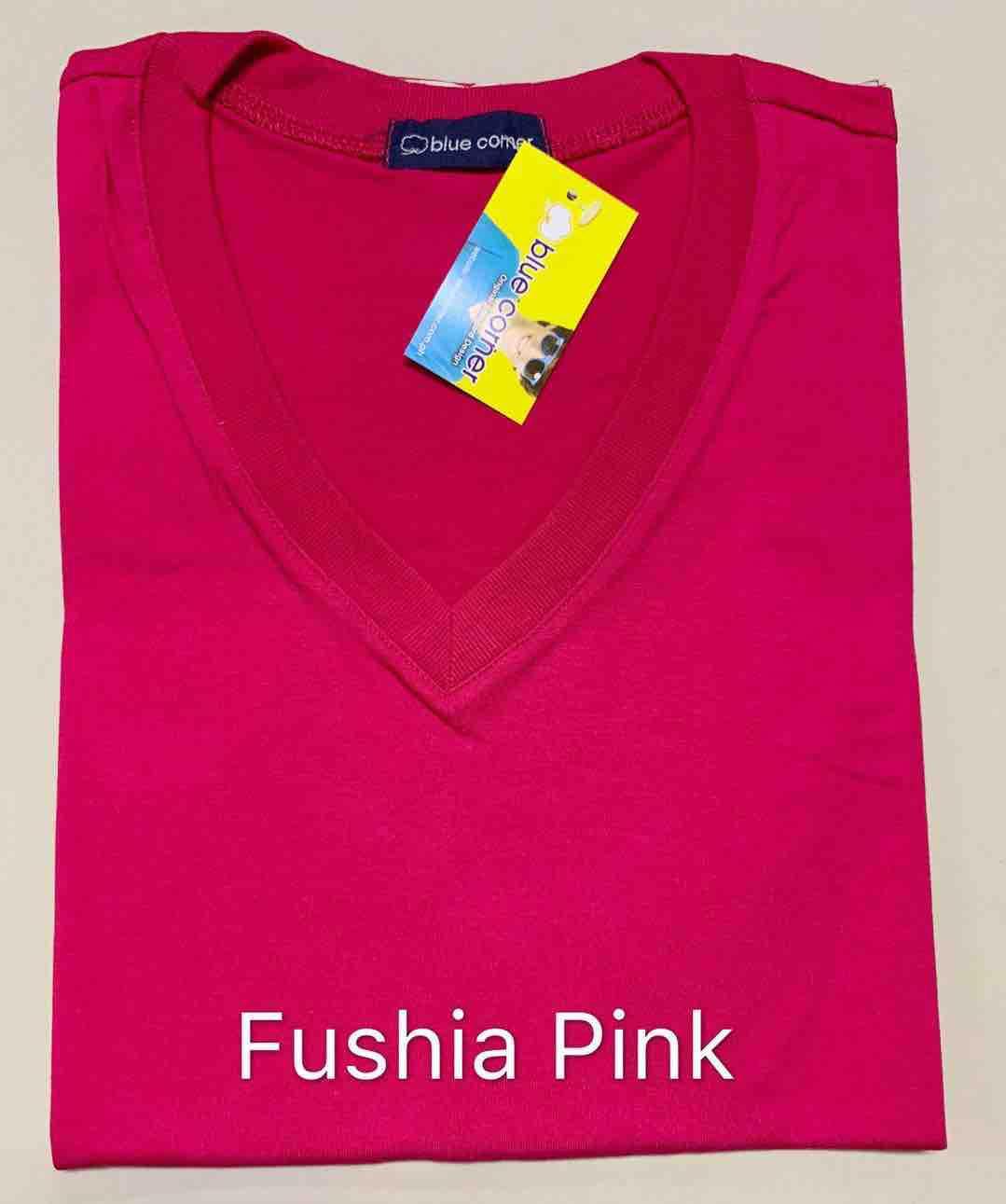 Blue Corner V-NECK T-shirt FUSHIA PINK