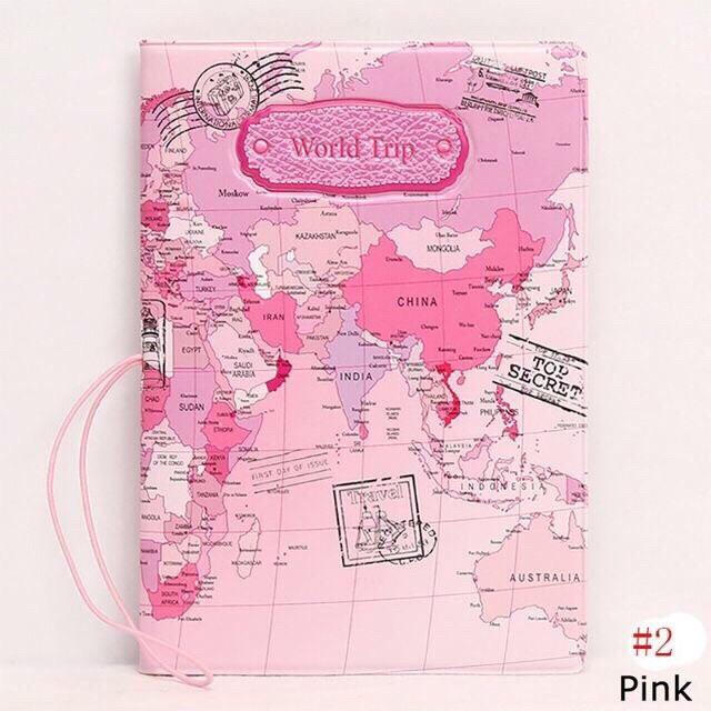 Travel Map Passport Cover Card Holder Ticket Protector By Jingzuan.