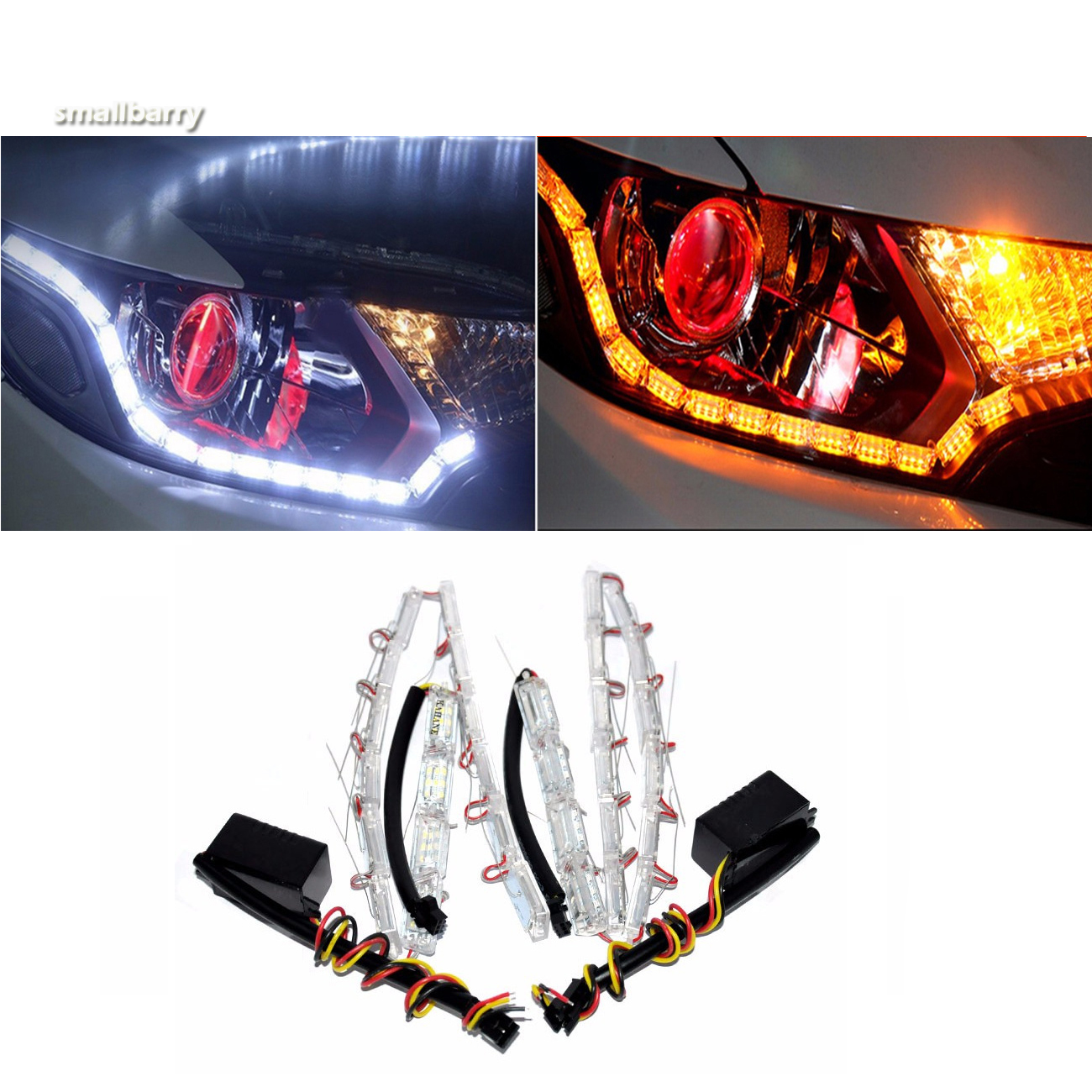 2x car flexible light Waterproof DRL LED Headlight Flasher Dual Color DRL Turn Signal White/