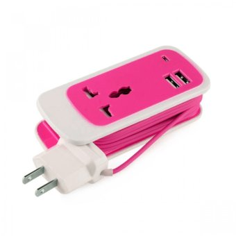 3-in-1 Dual USB Universal Socket (Pink)