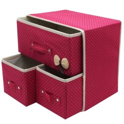 3-in-1 Foldable Storage Box with Handle (Pink)