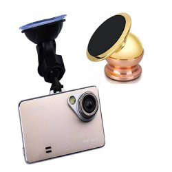 3'' TFT 1080P FHD Car DVR (Gold) with 360-Degree Universal Car Mount