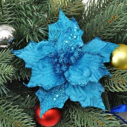 1 PC New 13cm Christmas Artificial Flowers Gold Side Xmas Tree Decorations Wedding Party Decor Ornaments WB206 P50 - intl