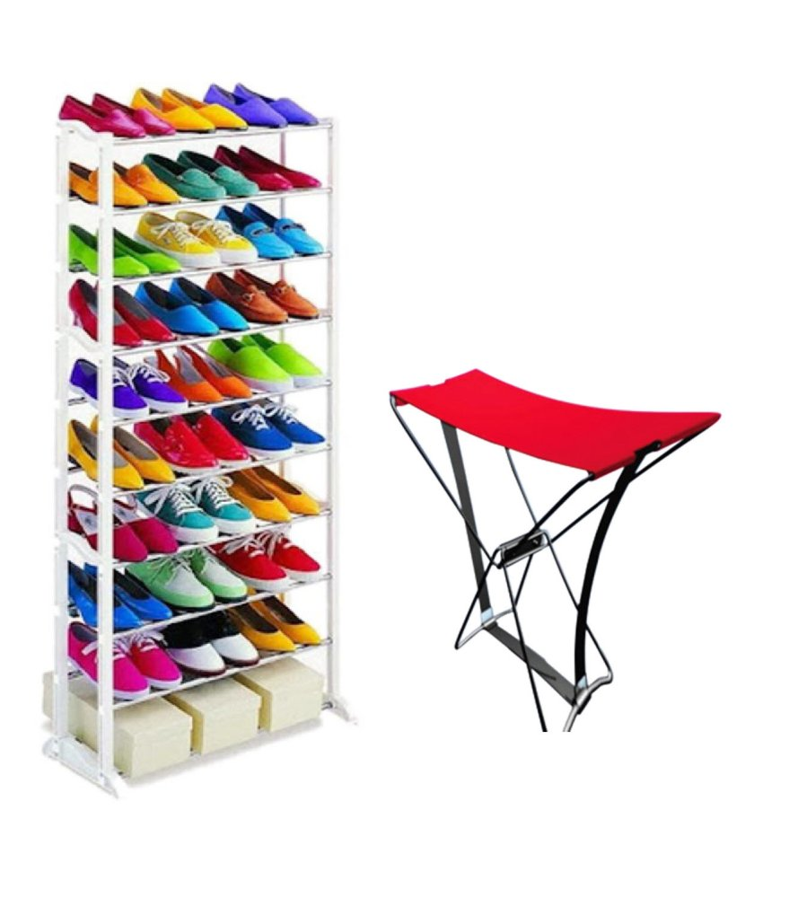 10-layer Amazing Shoe Rack (White) with Portable Pocket Chair