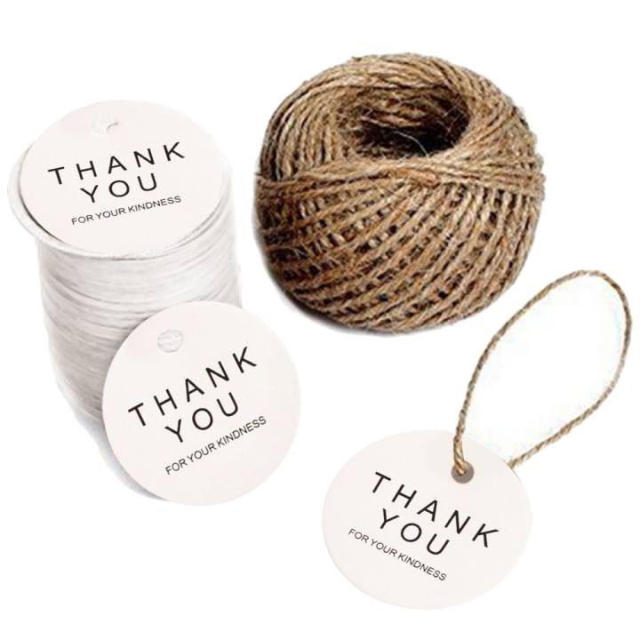100 PCS Round Shape Thank You Kraft Paper Tag DIY Wedding Party Blessing Greeting Card Label Gift Favor Tags with 30m Jute Twine White - intl