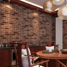 10Pcs Rustic Brick Effect Rock Stone Textured Wall Sticker Paper Coffee