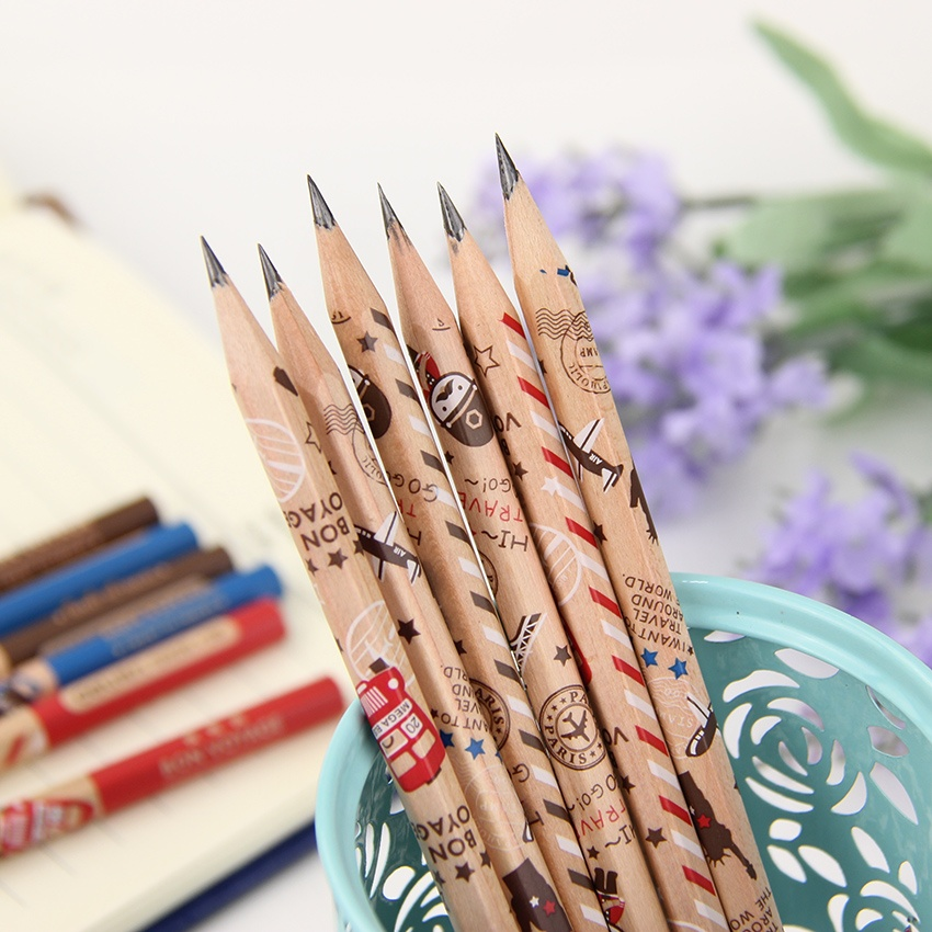 12pcs/lot Cute Soldier Wooden Hexagonal Bar 2B Pencil Standard Pencil for Drawing Painting Stationery