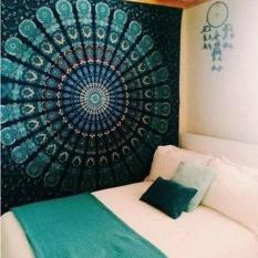 150cmx130cm Boho Wall Carpet Tapestry Mandala Tapestry Crystal Arrays Blue Wall Art Tapestry Indian Decoration Blanket - Intl By Lightnice.