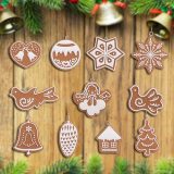 17Pcs Animal Snowflake Biscuits CHRISTMAS Hand Made Polymer Clay - thumbnail 2