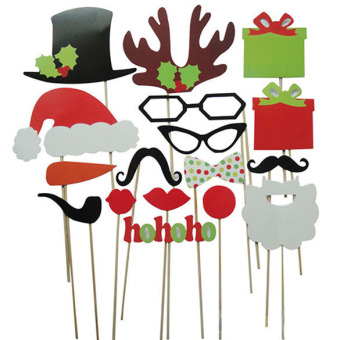 17Pcs DIY Photo Booth Props Mustache Lip Antler Gift Stick Christmas Party