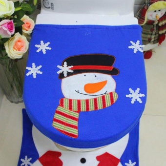1set Merry Christmas Santa Claus Toilet Seat Cover Rug Bathroom Set Mat Tank Cover Christmas Decoration Gifts - intl