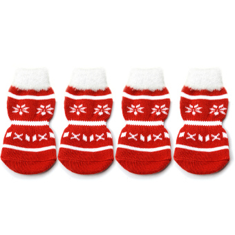 2 Pairs Snowflakes Patterned Christmas / New Year Non Slip Socks for Pet Cat / Dog Red M