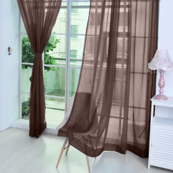 2 Pcs. Sheer Voile Window Panel Curtains Drape Coffee (Intl)