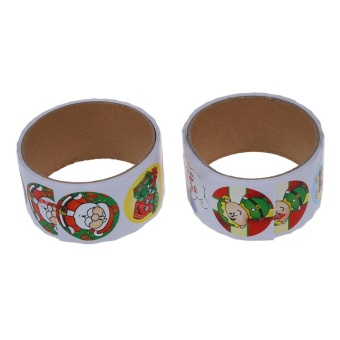 2 Rolls Of 100pcs Holiday Christmas Stickers