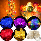20 LED Rattan Ball String Fairy Lights For Christmas Xmas Wedding Party Decor Red - thumbnail 5