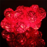 20 LED Rattan Ball String Fairy Lights For Christmas Xmas Wedding Party Decor Red - thumbnail 4