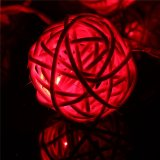 20 LED Rattan Ball String Fairy Lights For Christmas Xmas Wedding Party Decor Red - thumbnail 3