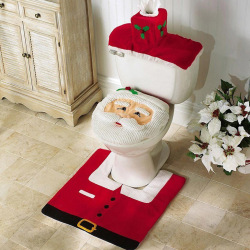 2016 High Quality Christmas Decorations Santa Claus patterns Toilet Lid Cover and Rug Set(red)