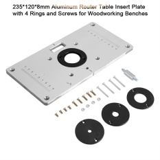 120mm 8mm aluminum router table insert plate with 4 rings and 235mm 120mm 8mm aluminum router table insert plate with 4 rings and screws for woodworking benches intl philippines greentooth Choice Image