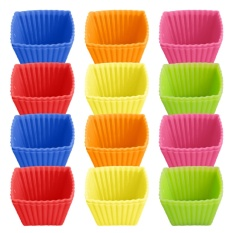 24 PCS Cute Silicone Reusable Baking Cups Non-stick Cookies Pudding Cupcakes Muffin Making Mold