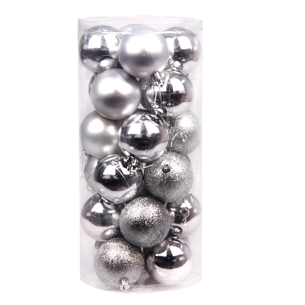 24x Round Christmas Balls Baubles Xmas Tree Decorations Silver - thumbnail