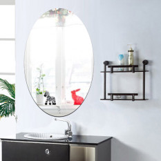27 42cm Oval Acrylic Bathroom Waterproof Mirror Sticker Intl