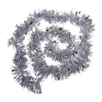 2m (6.5ft) Deluxe Thick Chunky Wide Silver Shiny Christmas Tree Tinsel Garland with Embossing Decoration - Intl