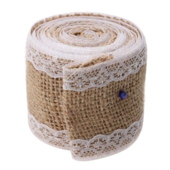 2M Roll Linen Lace Handmade Christmas Crafts Jute Burlap Wedding (C) Decor - intl - picture 2