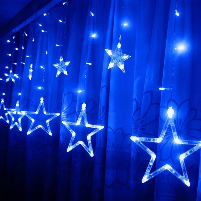 2m x 1m 138 LEDs Curtain Light 12-Star Curtain Light Fairy Light for Window Decoration Christmas Party Birthday Party(Blue) - thumbnail