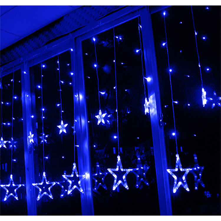 2m x 1m 138 LEDs Curtain Light 12-Star Curtain Light Fairy Light for Window Decoration Christmas Party Birthday Party(Blue) product preview, discount at cheapest price