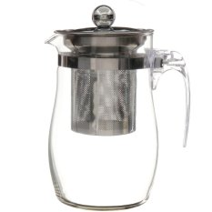 2PCS 750mL Heat-resisting Clear Glass Teapot Stainless Steel Infuser Flower Tea Pot - intl