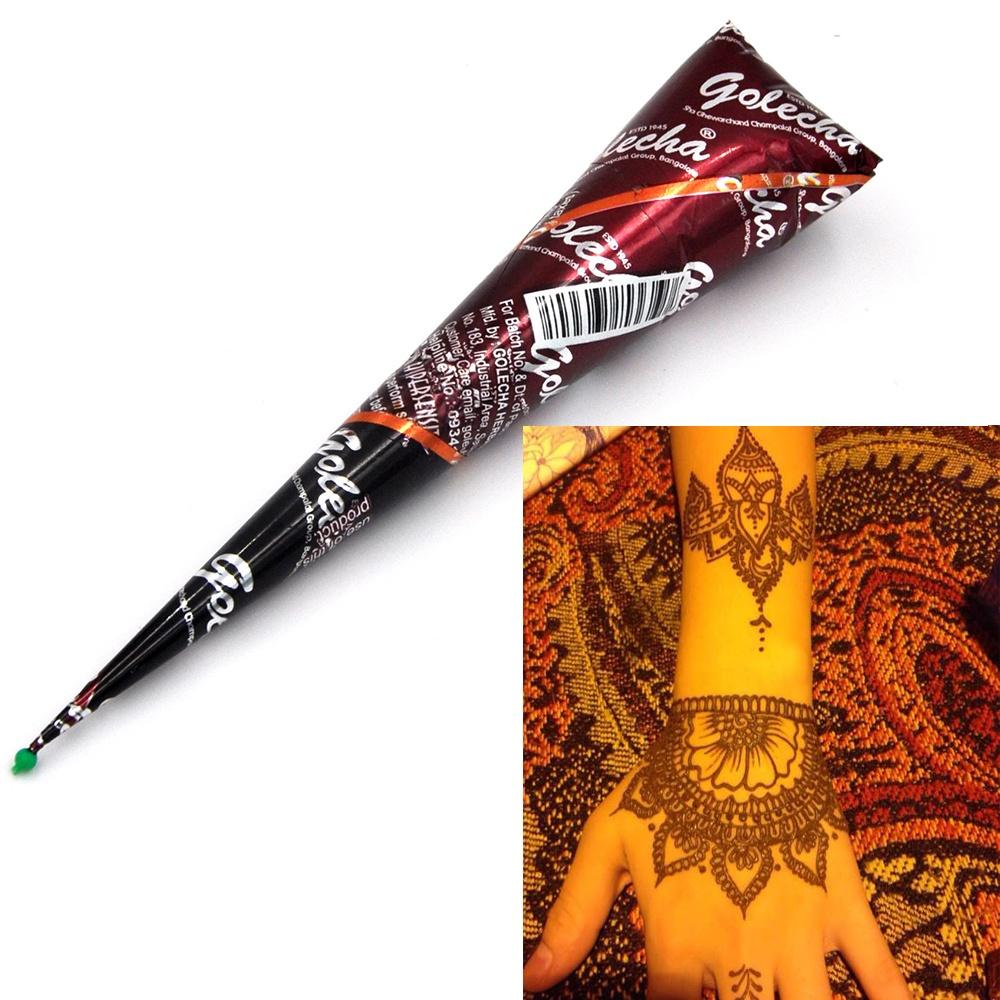 2pcs Set Henna Mehandi Cone 2017 Hot Hand Body Art Paint Makeup Diy Drawing Indian Henna Tattoo Paste Cone Waterproof Intl