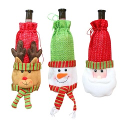 3 PCS Christmas Snowman Santa Claus Elk Shaped Red Wine Bottle Cover Bag Christmas Party Decorations Gift Candy Bags