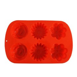 3 Shape Silicone Cupcake Mould (Orange)