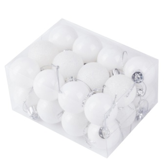 30mm Christmas Xmas Tree Ball Bauble Hanging Party Wedding Ornament Decor(White) - intl