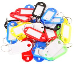 30pcs Plastic Assorted Colored Keyrings Tags with Name Card