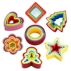 36 PCS Assorted Shapes Plastic Mini Cookie Cutter Set Baking Fondant Cake Chocolate Biscuit Cutting Molds