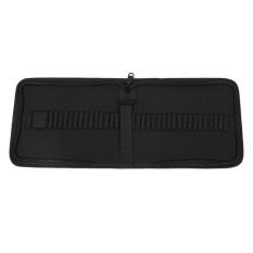 37-Slot Canvas Folding Pencil Pen Zipper Storage Wrap Holder Organizer Bag Case Black -