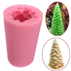 3D Christmas Tree Candle Baking Chocolate Soap Mold Craft Mould Silicone DIY - intl