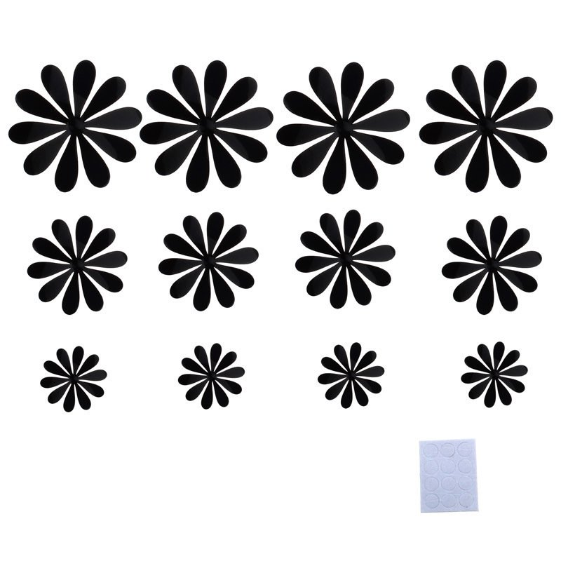 3D DIY Wall Stickers Flower Home Decor Room Decorations (Black) - thumbnail