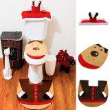 3pcs Elk Deer Reindeer Toilet Seat Cover Rug Bathroom Set Christmas Decorations - thumbnail 4